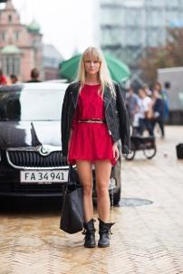 red dress on biker look @ stylesnooperdan.com
