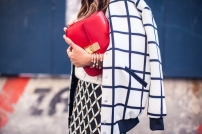 grid pattern outfit + red celine clutch @ theczechgirl.com
