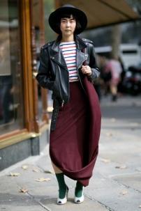 biker jacket & long skirt @ thefashionspot.com