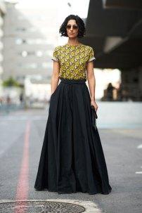 black long full skirt & yellow print shirt @ elle.com