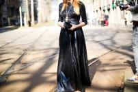 metallic black long dress @ stylesnooperdan.com